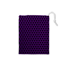 Dark Purple Metal Mesh With Round Holes Texture Drawstring Pouches (small)