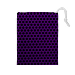 Dark Purple Metal Mesh With Round Holes Texture Drawstring Pouches (large)
