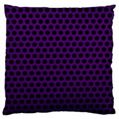 Dark Purple Metal Mesh With Round Holes Texture Large Flano Cushion Case (two Sides)