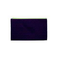 Dark Purple Metal Mesh With Round Holes Texture Cosmetic Bag (XS)