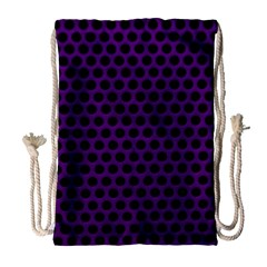 Dark Purple Metal Mesh With Round Holes Texture Drawstring Bag (large)