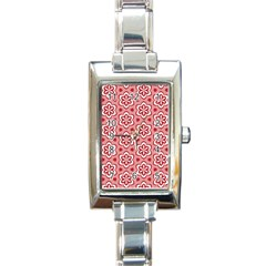 Floral Abstract Pattern Rectangle Italian Charm Watch