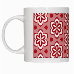 Floral Abstract Pattern White Mugs