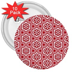 Floral Abstract Pattern 3  Buttons (10 Pack)