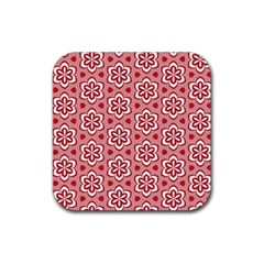 Floral Abstract Pattern Rubber Square Coaster (4 pack)