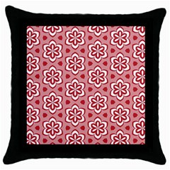 Floral Abstract Pattern Throw Pillow Case (black)
