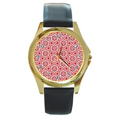 Floral Abstract Pattern Round Gold Metal Watch