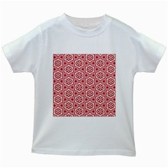 Floral Abstract Pattern Kids White T-Shirts