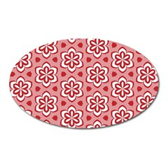 Floral Abstract Pattern Oval Magnet