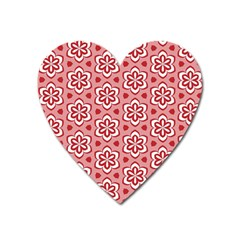 Floral Abstract Pattern Heart Magnet