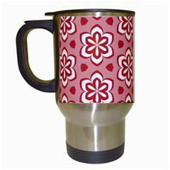 Floral Abstract Pattern Travel Mugs (white)