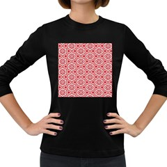 Floral Abstract Pattern Women s Long Sleeve Dark T Shirts
