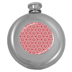 Floral Abstract Pattern Round Hip Flask (5 Oz)