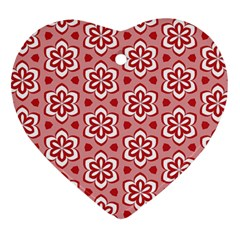 Floral Abstract Pattern Heart Ornament (two Sides)
