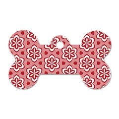 Floral Abstract Pattern Dog Tag Bone (two Sides)