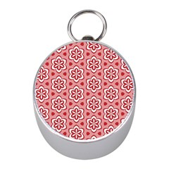 Floral Abstract Pattern Mini Silver Compasses