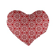Floral Abstract Pattern Standard 16  Premium Flano Heart Shape Cushions