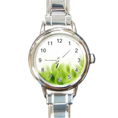 Green Leaves Pattern Round Italian Charm Watch