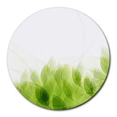 Green Leaves Pattern Round Mousepads