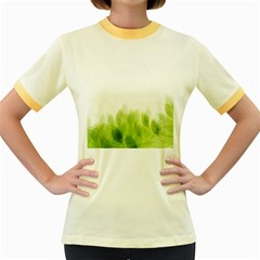 Green Leaves Pattern Women s Fitted Ringer T Shirts