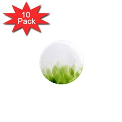 Green Leaves Pattern 1  Mini Magnet (10 Pack)