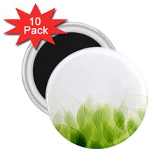 Green Leaves Pattern 2 25  Magnets (10 Pack)