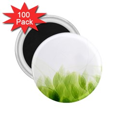 Green Leaves Pattern 2 25  Magnets (100 Pack)