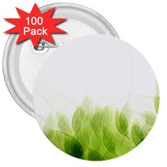 Green Leaves Pattern 3  Buttons (100 Pack)