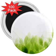 Green Leaves Pattern 3  Magnets (100 Pack)