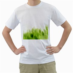 Green Leaves Pattern Men s T-Shirt (White) (Two Sided)