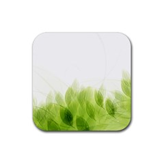 Green Leaves Pattern Rubber Square Coaster (4 Pack)