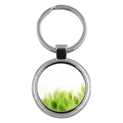 Green Leaves Pattern Key Chains (round)