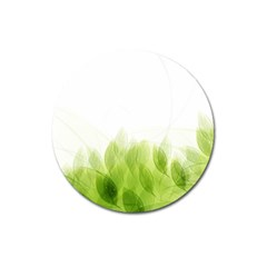 Green Leaves Pattern Magnet 3  (round)