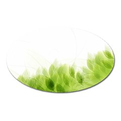Green Leaves Pattern Oval Magnet