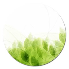 Green Leaves Pattern Magnet 5  (round)