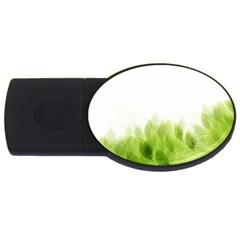 Green Leaves Pattern USB Flash Drive Oval (1 GB)