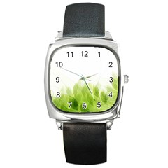 Green Leaves Pattern Square Metal Watch