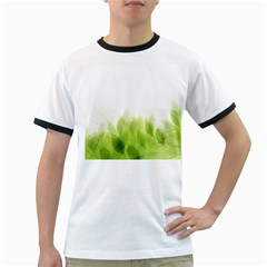 Green Leaves Pattern Ringer T Shirts