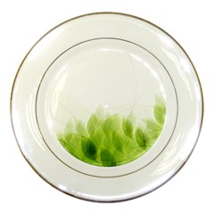 Green Leaves Pattern Porcelain Plates