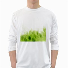 Green Leaves Pattern White Long Sleeve T Shirts