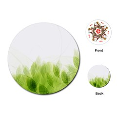 Green Leaves Pattern Playing Cards (round)