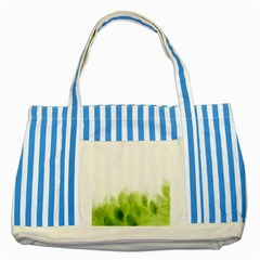 Green Leaves Pattern Striped Blue Tote Bag