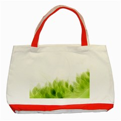 Green Leaves Pattern Classic Tote Bag (red)