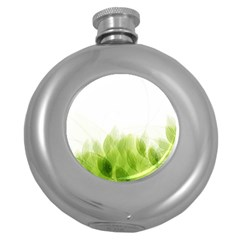 Green Leaves Pattern Round Hip Flask (5 Oz)