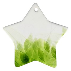 Green Leaves Pattern Star Ornament (Two Sides)