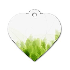 Green Leaves Pattern Dog Tag Heart (two Sides)