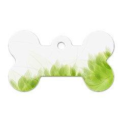 Green Leaves Pattern Dog Tag Bone (two Sides)