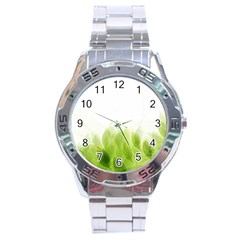 Green Leaves Pattern Stainless Steel Analogue Watch