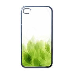 Green Leaves Pattern Apple Iphone 4 Case (black)