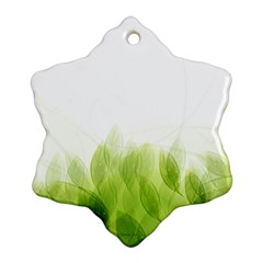 Green Leaves Pattern Snowflake Ornament (two Sides)